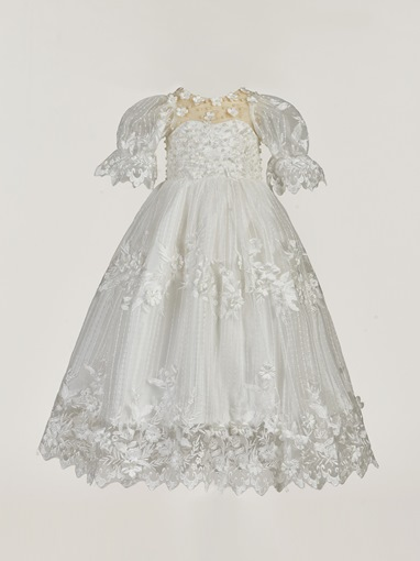 Ericdress Long Beading Appliques Flowers Baby Girls Christening Gown