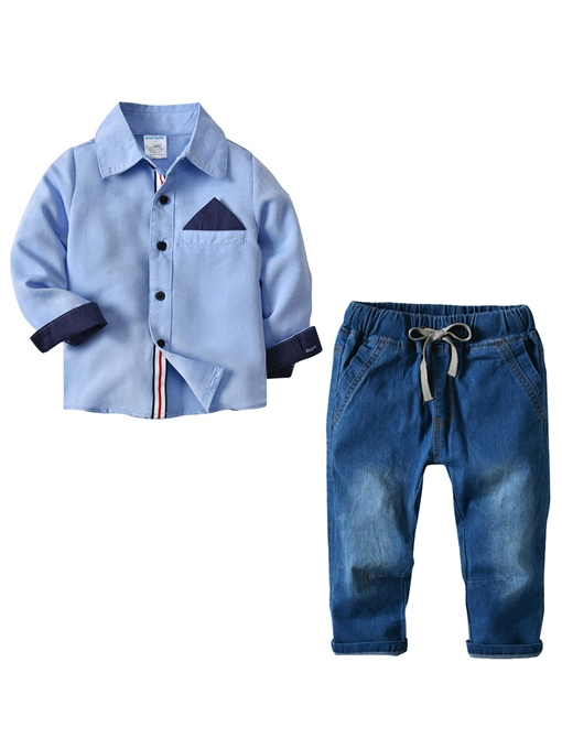 Ericdress Blue Shirt And Pant Casual Boy's 2-Pcs Outfit