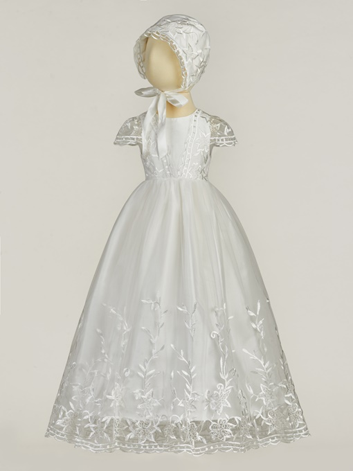 Ericdress Embroidery Lace Cap Sleeves Christening Dress for Baby Girl