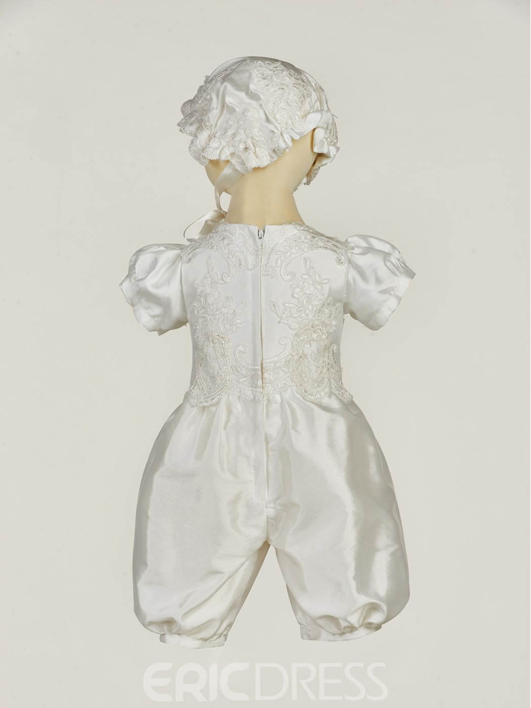 Ericdress 4 Pieces Romper Christening Gown for Girls Baptism Bonnet