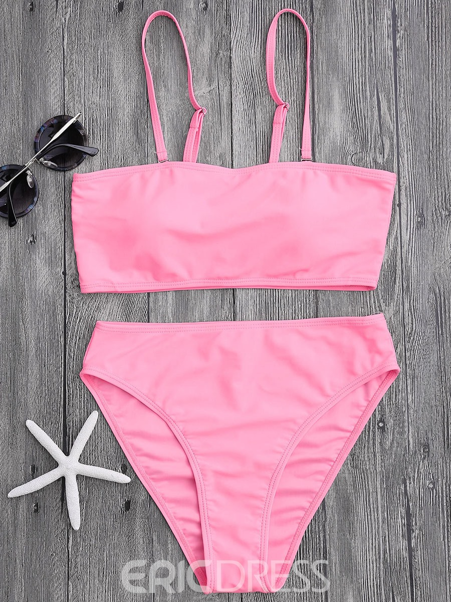 Ericdress Plain High Waist 2-Pcs Bikini Bathing Suits