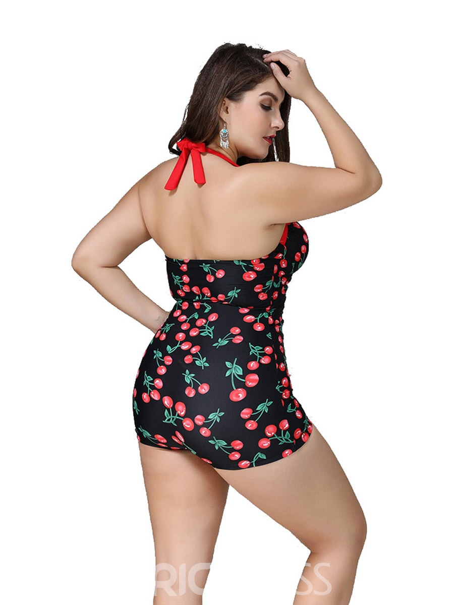 Ericdress Plus Size Halter Lace-Up Cherry One Piece Bathing Suits