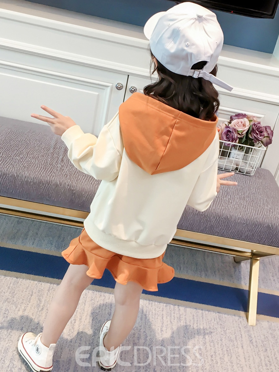 Ericdress Print Hoodie And Ruffles Skirt Girl's 2-Pcs Outfit