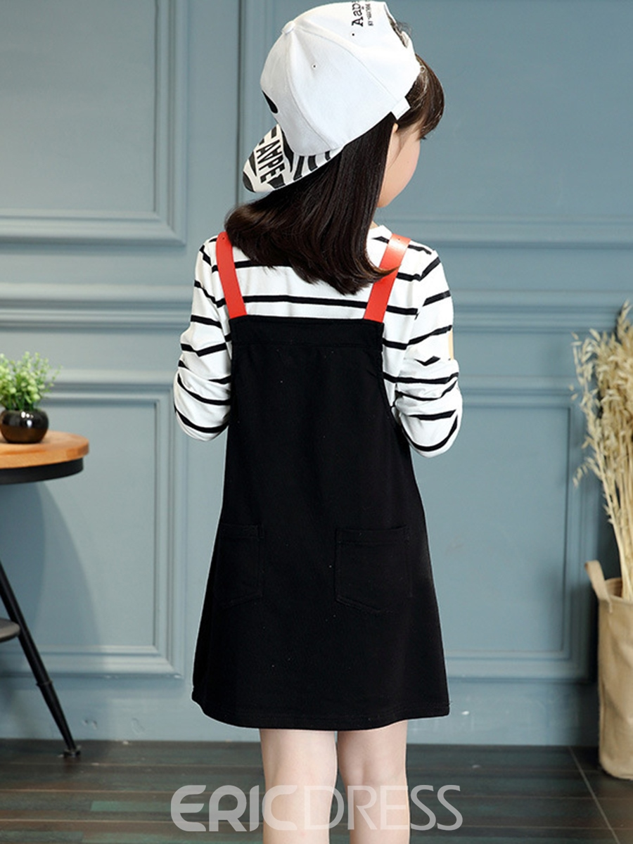 Ericdress Long Sleeve T-Shirt And Suspender Dress Girl's Outfit