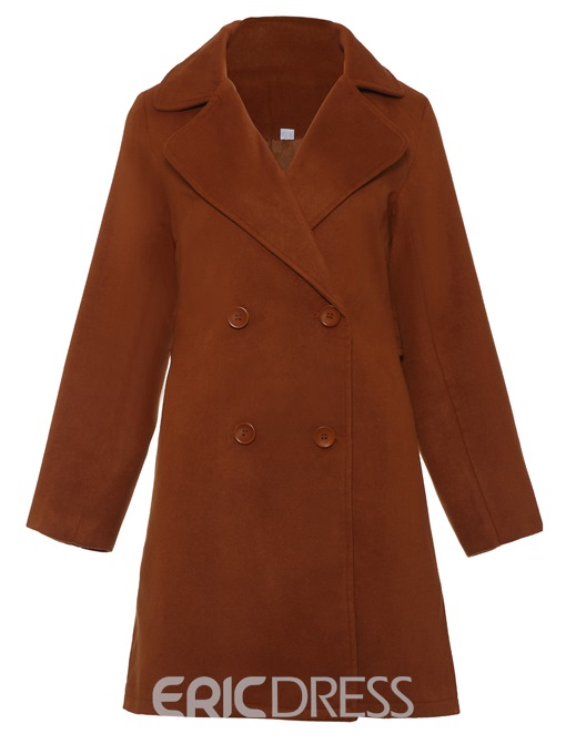 Ericdress Mid-Length Plain Double-Breasted Coat