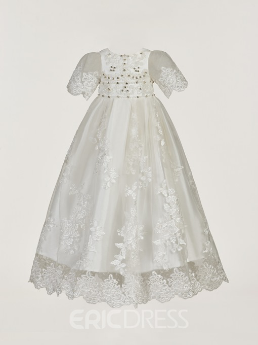 Ericdress Lace Beading Crystal Christening Gown with Bonnet