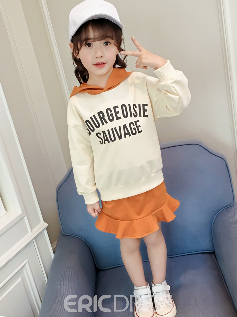 63fa73bc64 Ericdress Print Hoodie And Ruffles Skirt Girl's 2-Pcs Outfit(13176038)
