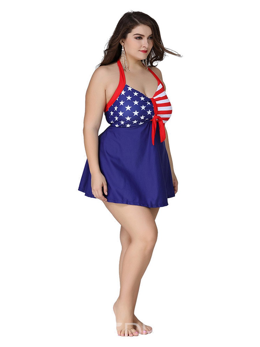Ericdress Plus Size American Halter Lace-Up One Piece Swimwear