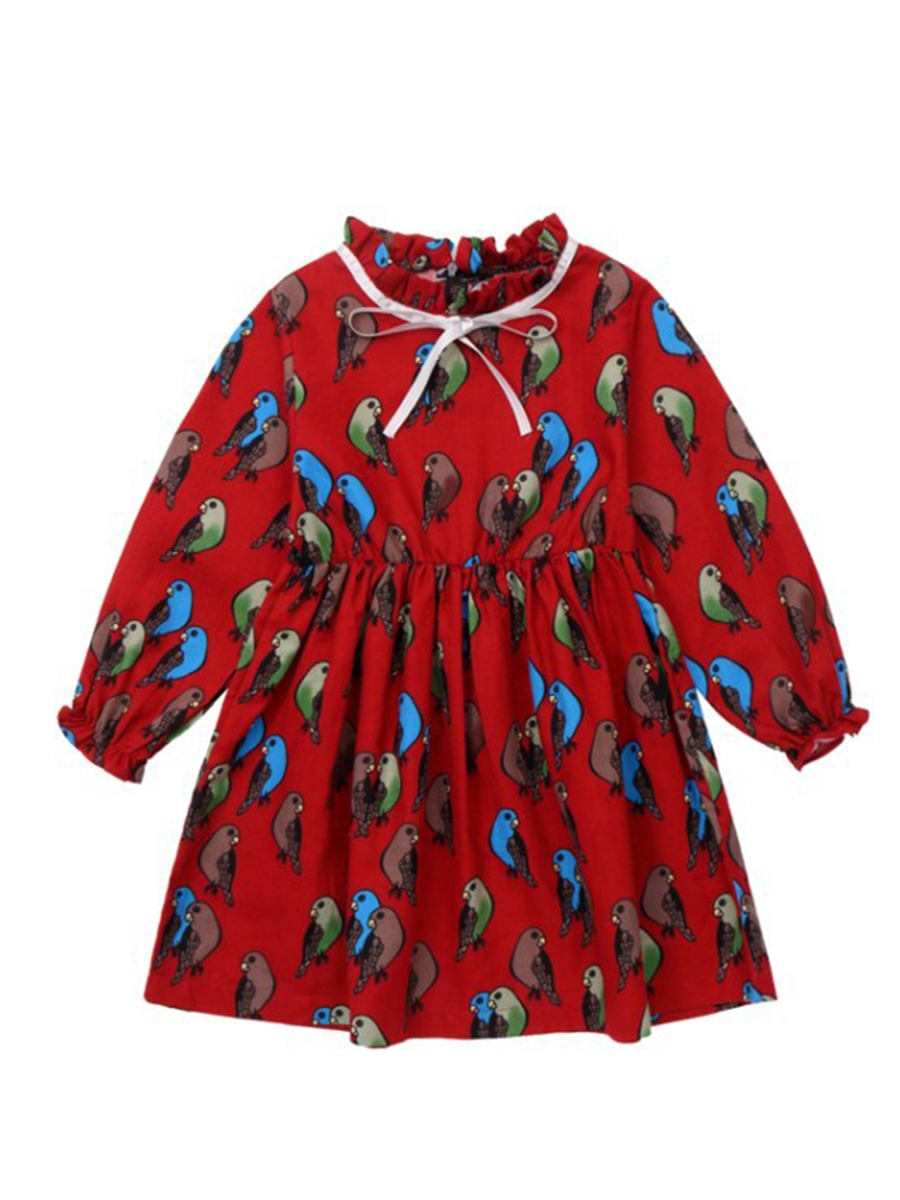 Ericdress Ruffle Collar Bird Print Lantern Sleeve Girl's A Line Dress