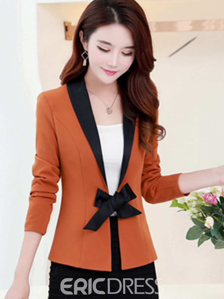 Ericdress Slim Patchwork Lace-Up Blazer