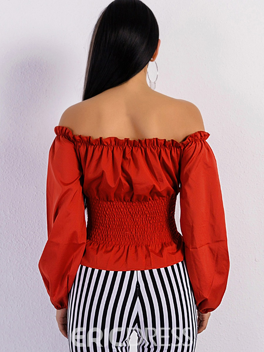 Ericdress Slim Off Shoulder Lace-Up Blouse