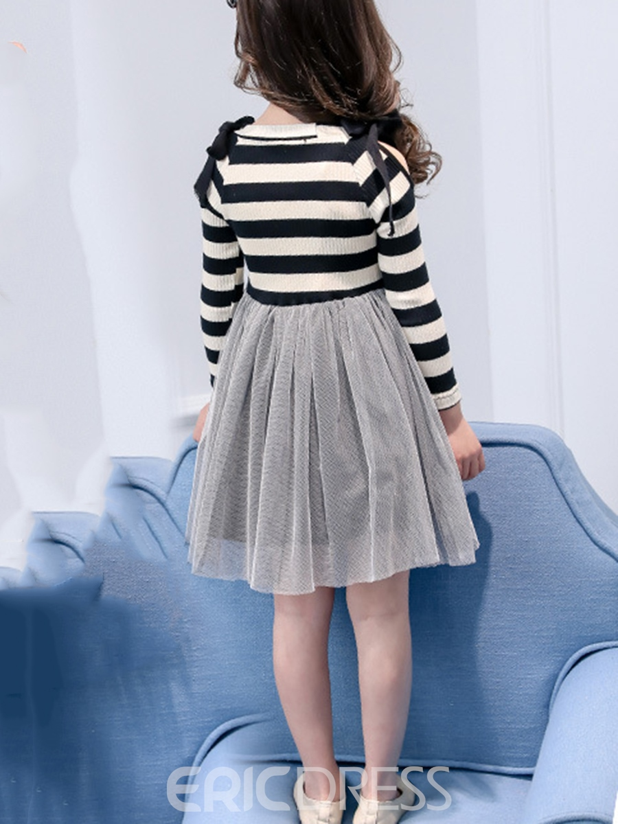 Ericdress Lace-up Bowknot Mesh Girl's Pleated Stripe Cotton Dress