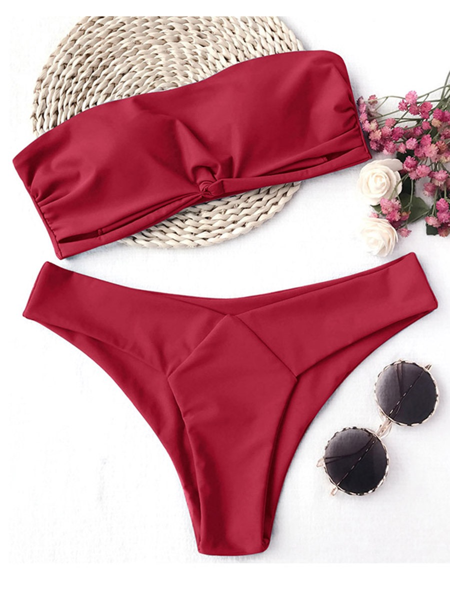 Ericdress Off Shoulder Plain Pleated 2-Pcs Bikini Swimsuits
