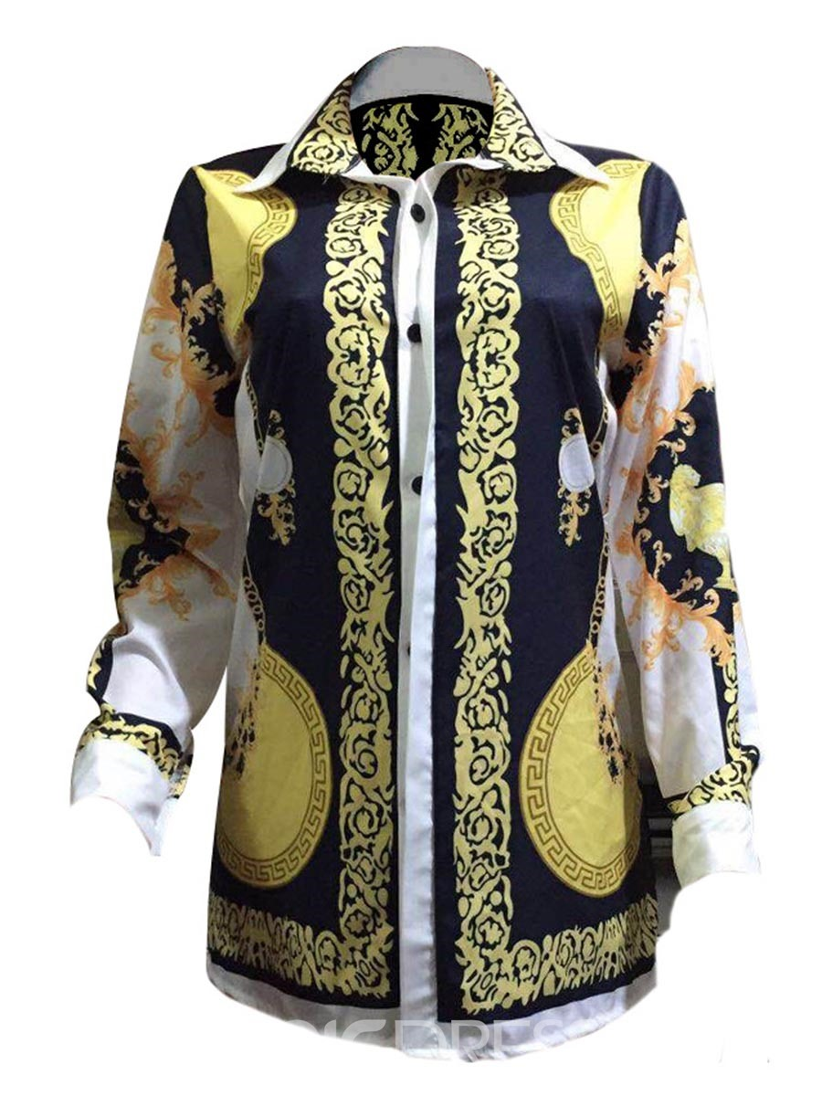 Ericdress Lapel Mid-Length Dashiki Print Blouse