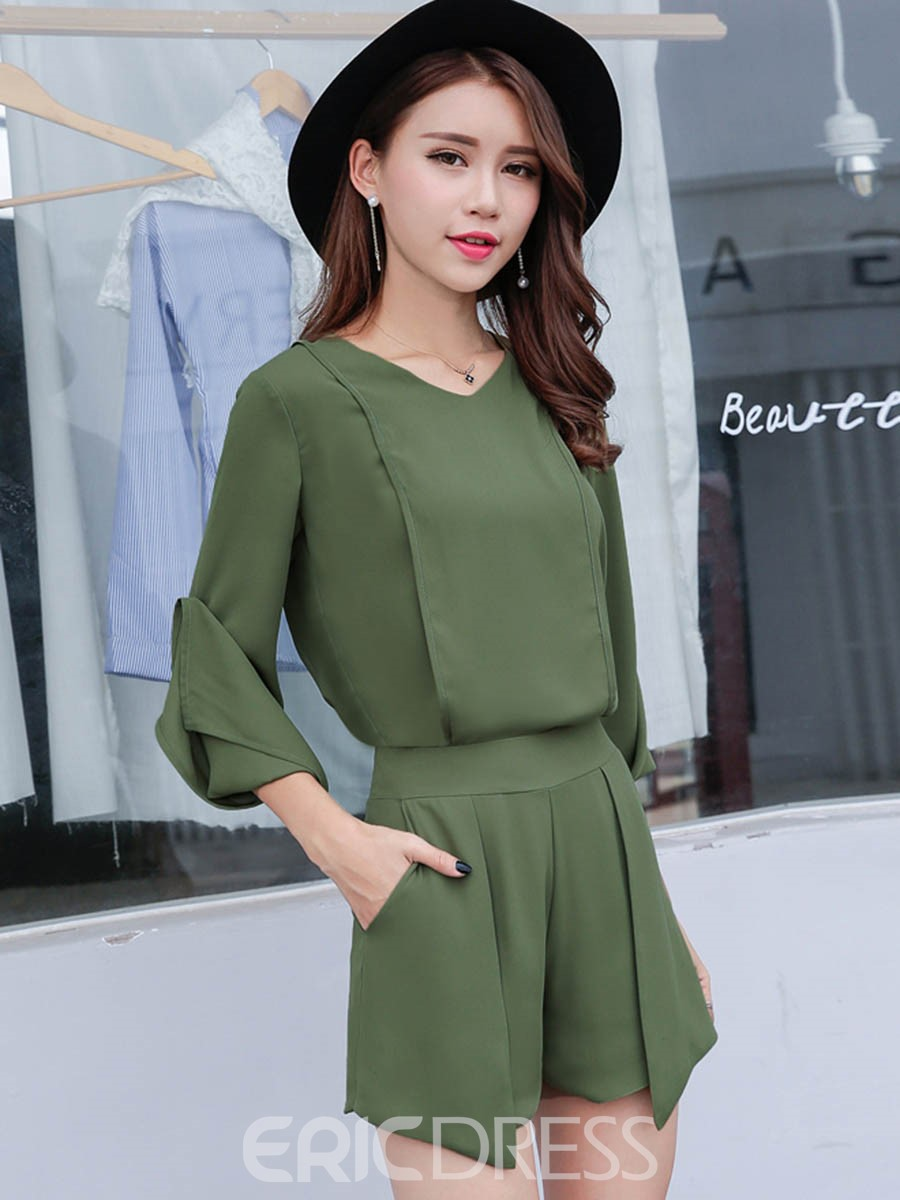 Ericdress V-Neck Chiffon Women's Two Piece Set