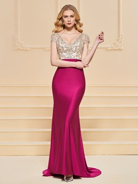 Ericdress Short Sleeve V Neck Beaded Prom Dress