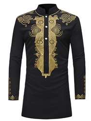 Ericdress African Fashion Dashiki Print Slim Fitted Stand Collar Mens Shirts фото