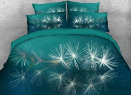Vivilinen 3D Dispersed Dandelion Printed 4-Piece Green Bedding Sets/Duvet Covers