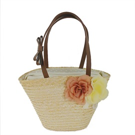 Ericdress Fashion Floral Decoration Women Straw Shoulder Bag