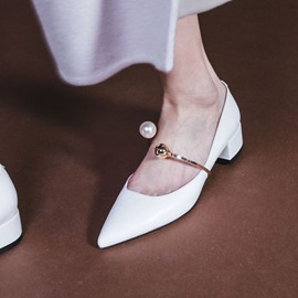 Ericdress Plain Chunky Heel Pointed Toe Women's Pumps with Beads