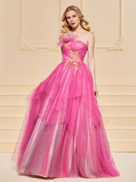 Ericdress A Line Strapless Applique Beaded Prom Dress