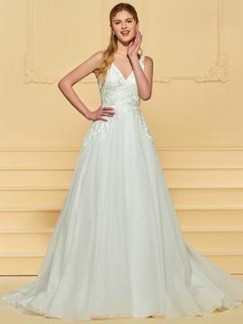 Ericdress Lace Appliques V Neck Outdoor Wedding Dress