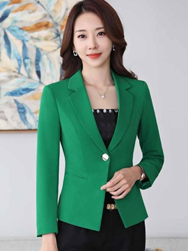 Ericdress Slim Solid Color Single Button Blazer