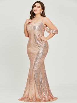 Ericdress Spaghetti Straps Sequins Plus Size Prom Dress