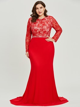 Ericdress Long Sleeves Scoop Neck Lace Mermaid Evening Dress