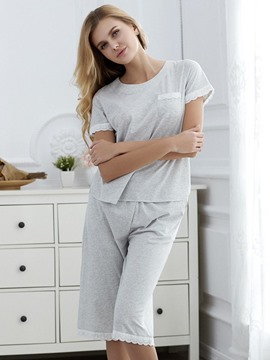 Ericdress Lace Short Sleeve Round Neck Tracksuit Loungewear