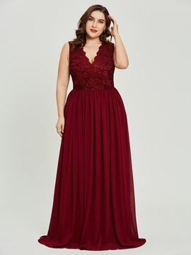 Ericdress V Neck Plus Size Lace A Line Prom Dress