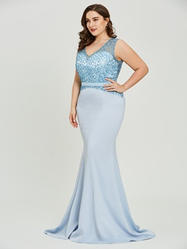 Plus Size V Neck Blue Mermaid Evening Dress