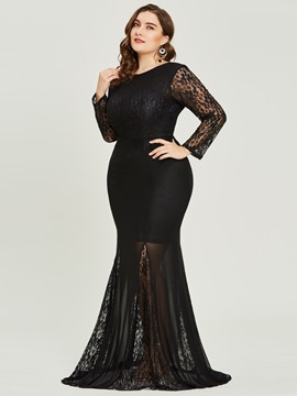 Ericdress Plus Size Scoop Neck Long Sleeves Mermaid Evening Dress