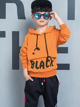 Ericdress Letter Print Boy's Cotton Sport Suit Hoodie Pants