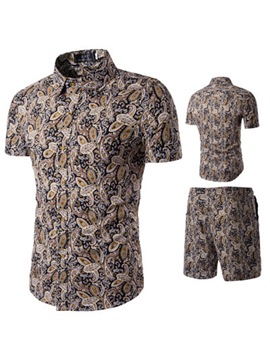 Ericdress Men's Floral Printed Single Breasted Short Sports Suit
