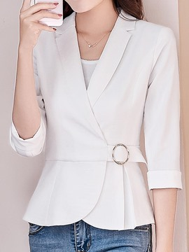 Ericdress Slim Plain Belt Blazer