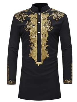 Ericdress Dashiki Printed Slim Fitted Stand Collar Men's Mid-Length Shirts