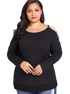 Ericdress Plain Hollow Scoop Plus-Size Long Sleeve Tee Shirt