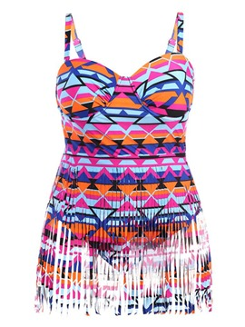 Ericdress Plus Size Geometric Print One Piece Swimwear