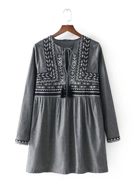 Ericdress Tie Neck Long Sleeve Embroiderd Women's Day Dress