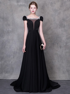 Ericdress A Line Cap Sleeve Black Evening Dress With Beadings