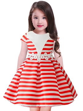Ericdress Scoop Stripe Girl's Short Sleeve Print Dress