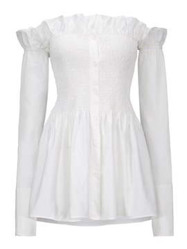 Ericdress slash neck roffles blouse plissée