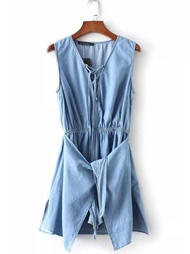Ericdress Denim Pleated Lace-Up Women's Rompers