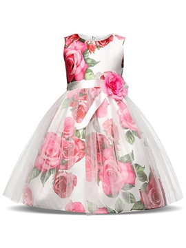 Ericdress Mesh Bowknot Rose Printed Girl's Ball Dresses
