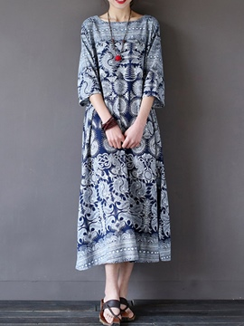 Ericdress Print 3/4 Sleeve Women's Casual Dress