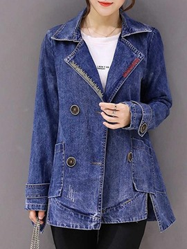 Ericdress Lapel Mid-Length Denim Trench Coat