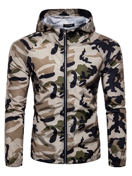 Ericdress Color Block Men's Camouflage Zipper Slim Fit Hoodies
