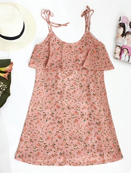 Ericdress Pink Spaghetti Strap Floral Print Women's Day Dress