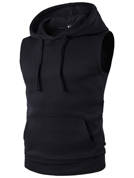 Ericdress Men's Plain Hooded Slim Fit Pocket Vest